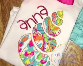 Seashell 2 Applique Design (#961) - BEAN Stitch - Machine Embroidery Design - 4 Sizes - INSTANT DOWNLOAD