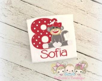 Gray Sock Monkey Birthday Shirt- Red Polka Dots- Custom Embroidery