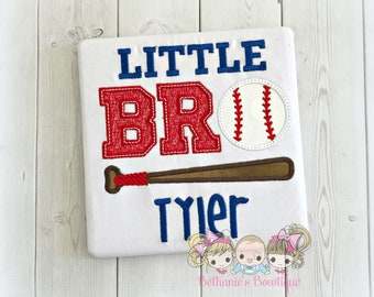 Little brother baseball shirt- Little bro baseball shirt- baseball themed sibling shirt- baseball themed little brother shirt