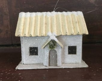 Vintage Cardboard Christmas House with Wreath over Door / Putz Style