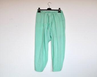Vintage Handmade Mint Green Elastiv Waist Harem Pants