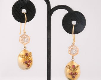 Vintage 14k Yellow and Rose Diamond and Ruby Assemblage Earrings