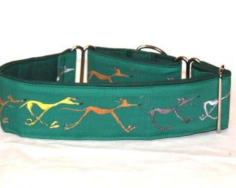 """2"""" Martingale Dog Collar Doodle Greyhounds - Green"""