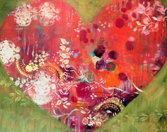Lulu's Heart- 48 x 36 ORIGINAL Colorful Valentine Painting by Carrie Tasman
