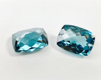 FINAL sale 15x20 mm drilled top one pair london blue topaz lab