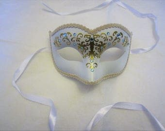 Gilded: White and Gold Jeweled Masquerade Mask