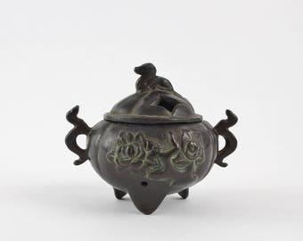 Vintage Bronze Cauldron Incense Burner with Dragon Floral Motif