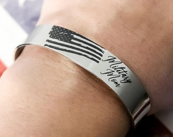 Military Mom Bracelet  - Military Mom Cuff - Military Mom Gift - Military Mom Jewelry - American Flag Bracelet - Armed Forces Bracelet