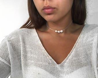 Pearl Choker for Women, pearl choker, Pearl necklace, Boho Choker, Choker Necklace,women pearl choker,silver necklace with pearls,christmas