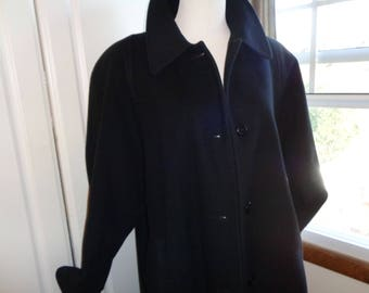 Vintage 100% Black Cashmere Full Length Coat with black silk satin lining in Very Good Condition, Size XL Female, Swing Style Coat