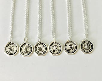 Set of 6 Bridesmaid Necklaces, silver personalized necklace, wax seal initial necklace, silver bridesmaid necklace