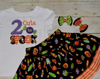 Girls Halloween Outfit, RTS, 2 Cute to Spook, Orange and Black, Trick or Treat, Spooky, Ready to Ship