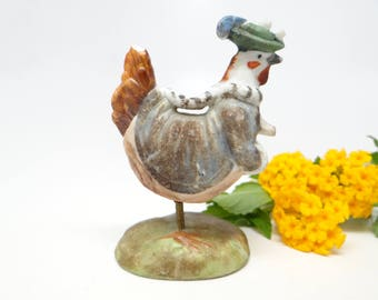 1930's German Hen with Spring Legs,  Antique Hand Painted Bisque Bobble Chicken for  Christmas Putz or Easter