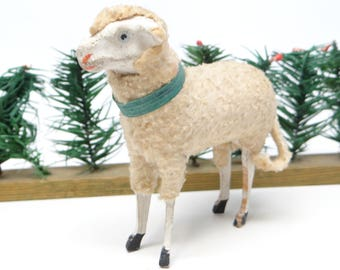 Antique 1930's German 3 1/2 Inch Wooly Sheep, for Putz or Christmas Nativity