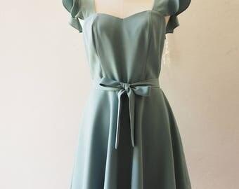 OLIVIA - Sage Green Bridesmaid Dress  - Back Zipper - Sage Green Party Dress Vintage Sundress Short Casual Dress La La Land Style no#198