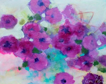 """Small Abstract Floral, Loose, Colorful, Purple Flowers """"Petunia Power"""" 11x14"""""""