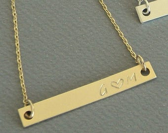 Gold Bar Name Initial Necklace