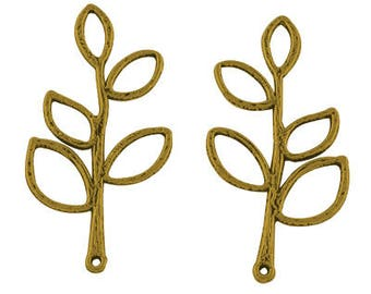 Antique Gold LEAVES Charms / Pendants - Lead Free & Nickel Free