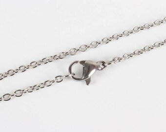 "Silver 304 Stainless Steel Cable Chain Necklace with Lobster Claw Clasp - 17.7""(45cm) long"