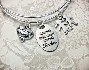 Personalized SPED Teacher Bangle, SPED Teacher's Gift, Teacher, PPCD Teacher, Special Kid Charm, Reach Teacher, Teacher Gifts, Teacher Charm