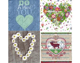 Decoupage Napkins, Napkins Decoupage, Heart Napkins, Decoupage Hearts, Decoupage Daisies, Wooden Sign, Heart Sign, Floral Heart, Valentine