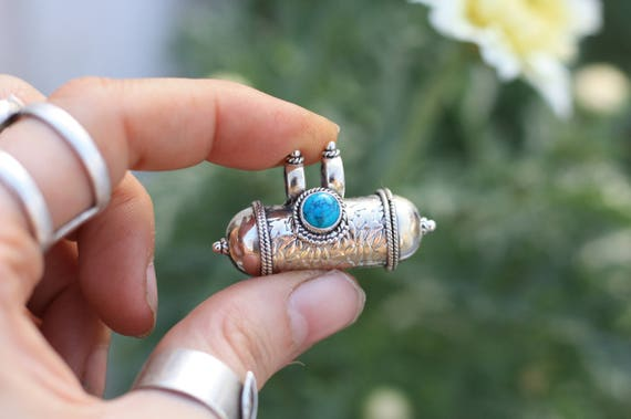 TURQUOISE MANTRA NECKLACE - Sterling Silver- Mantra Box- Buddhist Necklace-Prayer Necklace-Mala- Meditation-Yoga-Crystal Necklace-Gemstone