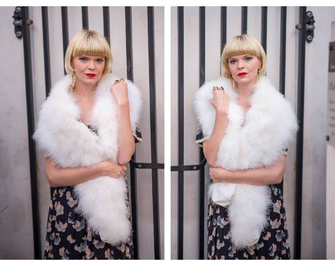 Glamorous Vintage MOUNTHILL 1950's 50's Pure White Marabou Ostrich Feather Long Stole Scarf Throw Wrap