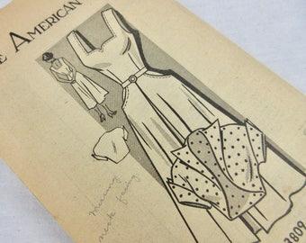 "Vintage 1940s Dress Sewing Pattern, Sundress, Bolero Jacket, American Weekly 3809, 34"" Bust"