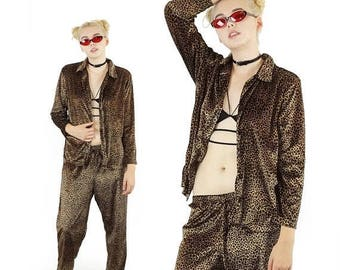 ON SALE Velvet 90s Cheetah Print Two Piece Outfit, 90s Goth Outfit, Club Kid, Button Down Shirt and Baggy Pants, Women's Size Medium