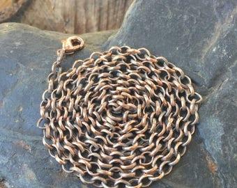 On Sale 30 inch Copper Chain - Long Copper Chain - Antiqued Copper Rolo Chain - Copper Chain - 4mm Antique Copper Necklace Chain