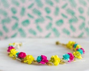 Pink Aqua Yellow Green Hawaiian Luau Crown Halo First Birthday Crown - WDW Boho Headband Newborn Photo Prop Shabby Chic