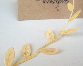 "1/2yd  Buttermilk Leaves Cord -1 1/4"" width -Sateen Cream Leaf Cord -Decorative Cord -Cream Ribbon -Buttermilk Leaf Ribbon -Cream Ribbon"