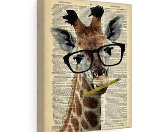 Brainy Giraffe CANVAS Wrap Print, Gallery Stretched Canvas Dictionary Art, Dorm Decor Teachers Gifts Animal Wearing Glasses Nursery Wall Art
