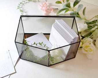 Light Gray Glass Envelope Holder, Glass Box, Wedding Card Box by jacquiesummer, Made to Order