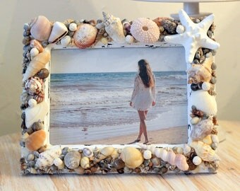 Upcycled White Seashell Picture Frame Wood
