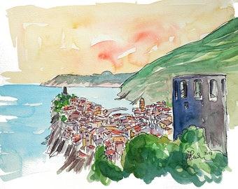 Vernazza Colorful Cinque Terre On Italian Riviera - Limited Edition Fine Art Print