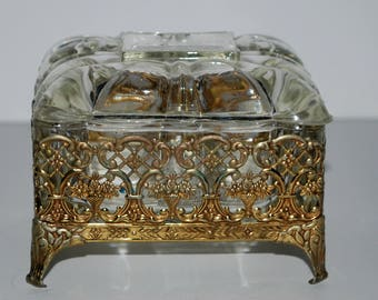 vintage glass and metal vanity box  jewelry casket
