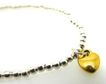Silver Beaded Bracelet Gold Heart Charm/Medium Size Stacking Stretch Bangle/Bridesmaids/Sister/Friend Gift//LR068B