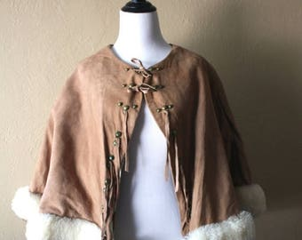 Clearance Sale Vintage Suede Cape with  Novelty Print Cowboy Lining and Sheepskin Trim