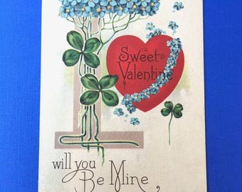 Charming 1920's Valentine Postcard-Heart with 4 Leaf Clover