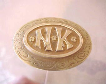 "Beautiful Long Art Nouveau Era Hat Pin with Lady's Initials ""N.K."""