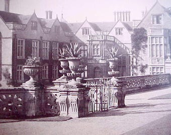 Beautiful Old Sepia Photograph of Charlcote Park Where Shakespeare Stole The Deer