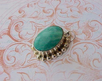 Pretty Vintage Mexican Sterling Silver Pendant with Malachite