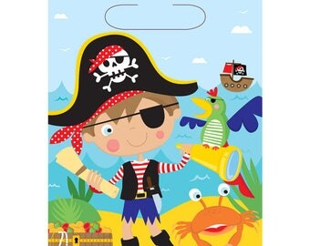 Little Pirates Loot Bags Birthday Party Kids Gift Favours Tableware