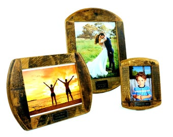 Bourbon Barrel Picture Frames - Rustic Hanging Frames - Custom Engraved Picture Frame - Wooden Picture Frame - Wedding Gift - Whiskey Decor