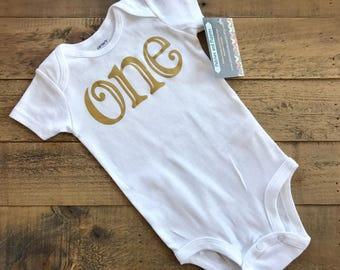 Ready to ship First Birthday Girls Shirt one 1 gold aqua modern gift photo prop