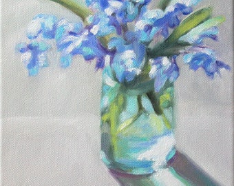 Original Oil Painting: Blue Flowers in Glass Jar Still Life