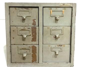 Library Card Catalog File Drawers Oak / Library Bureau / 6 drawer /Gray