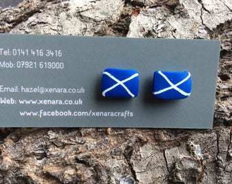 Saltire studs -Scottish jewellery- St. Andrews flag - polymer clay earrings