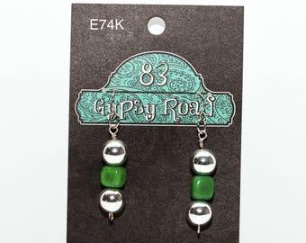 EARRINGS - Green & Silver Balls